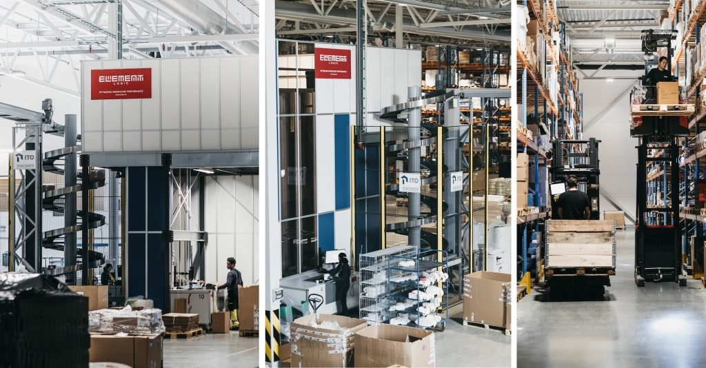 Three images inside warehouse with AutoStore ports and conveyer system