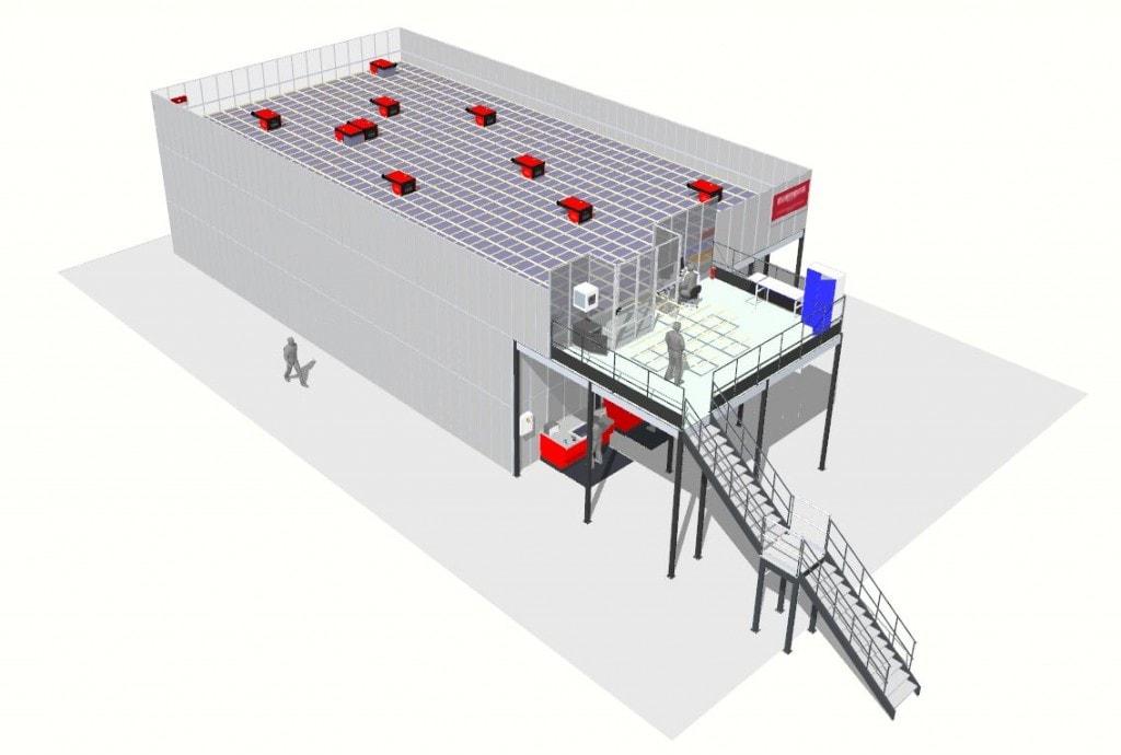 render del sistema AutoStore instalado en L&R