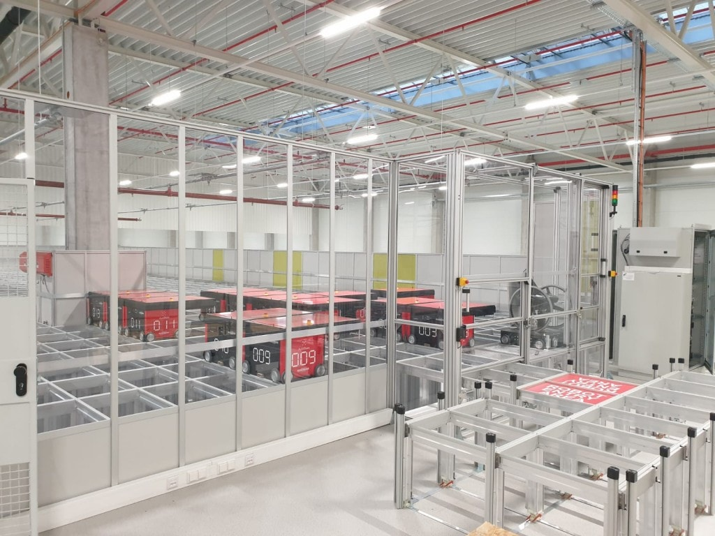 AutoStore robots can be observed from the service mezzanine