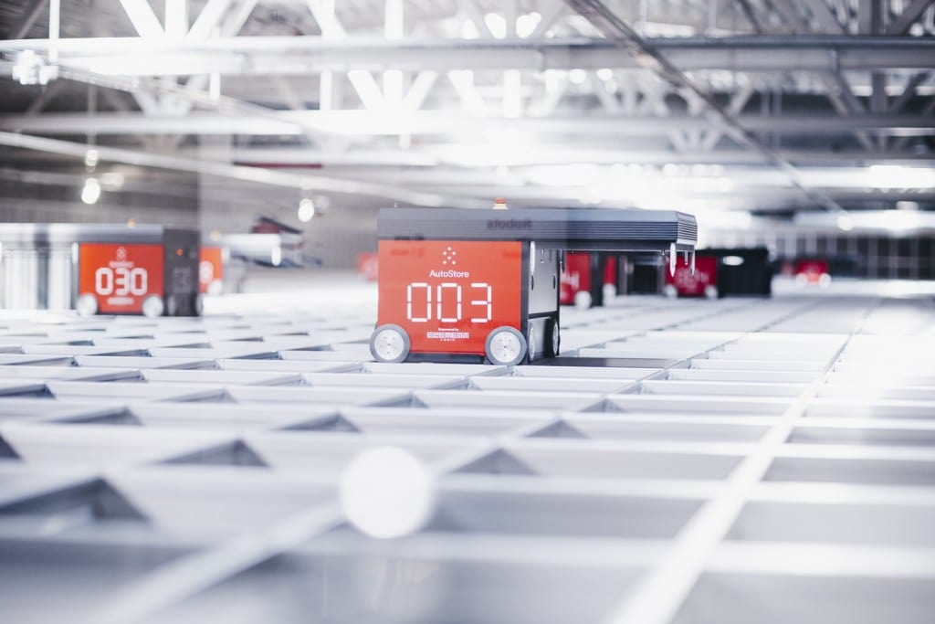 Red Line AutoStore robots on grid at Solar's warehouse